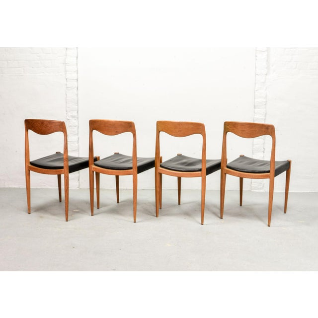 Niels Otto Møller Set of Four Mid-Century Scandinavian Design Leatherette Dining Chairs After n.o. Moller, Early Edition Model 71, Denmark, 1950s For Sale - Image 4 of 12