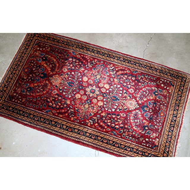 1920s, Handmade Antique Persian Sarouk Rug 2.3' X 4.3' For Sale - Image 4 of 6