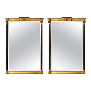 Wall or Console Mirrors Neoclassical Ebony and Parcel Gilt Decorated - a Pair For Sale