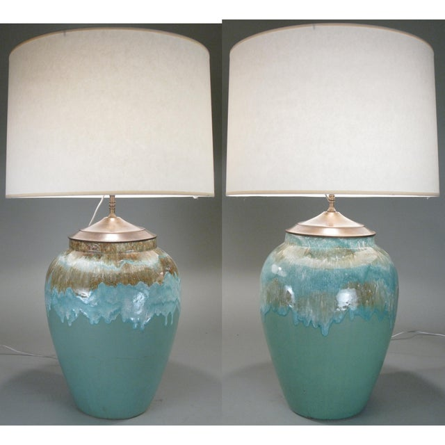Ceramic Large 1960s Glazed Ceramic Lamps - a Pair For Sale - Image 7 of 7