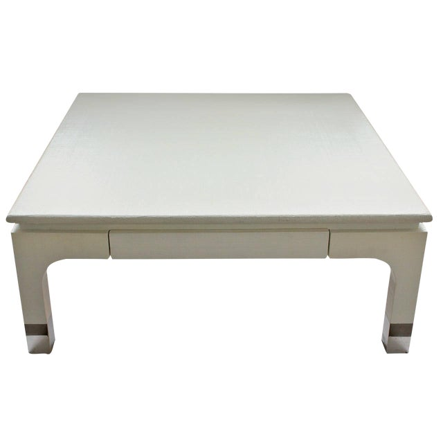 Modern Harrison-Van Horn Lacquered Raffia Coffee Table For Sale