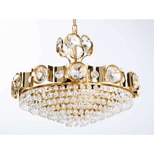 Crystal Mid-Century Modern Jeweled Cut Crystal and Gold Chandelier by Lobmeyr For Sale - Image 7 of 10