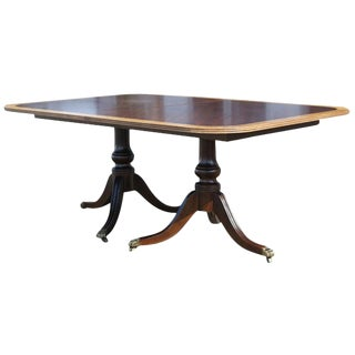 Late 20th Century Henredon Walnut and Mahogany Desk Dining Table For Sale