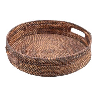 Traditional Round Wicker Basket Tray