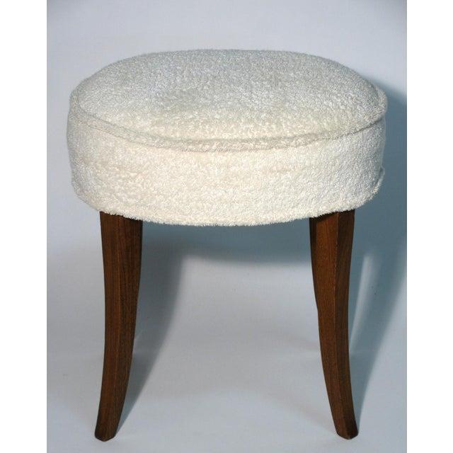 Mid-Century Modern Vintage Walnut Vanity Stool For Sale - Image 3 of 4