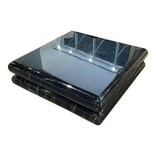 Karl Springer Style Black Faux Marble Coffee Table For Sale