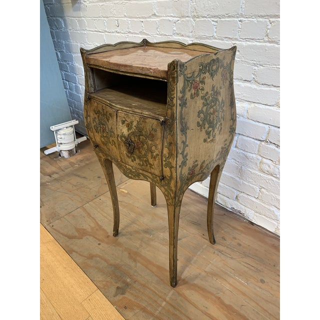 Early 20th-Century French Inspired Hand Painted Side Cabinet + Marble Top For Sale In San Francisco - Image 6 of 12