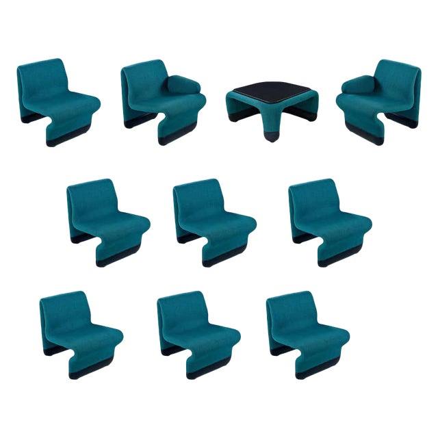 Jan Ekselius Style Modern Modular Teal Tweed Sectional Sofa Seating - Set of 10 For Sale