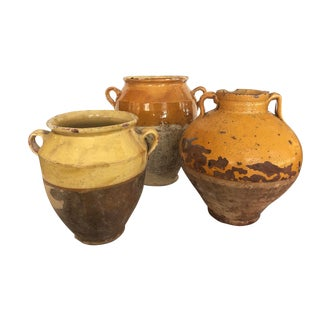 Set of Three Antique Confit Pots For Sale