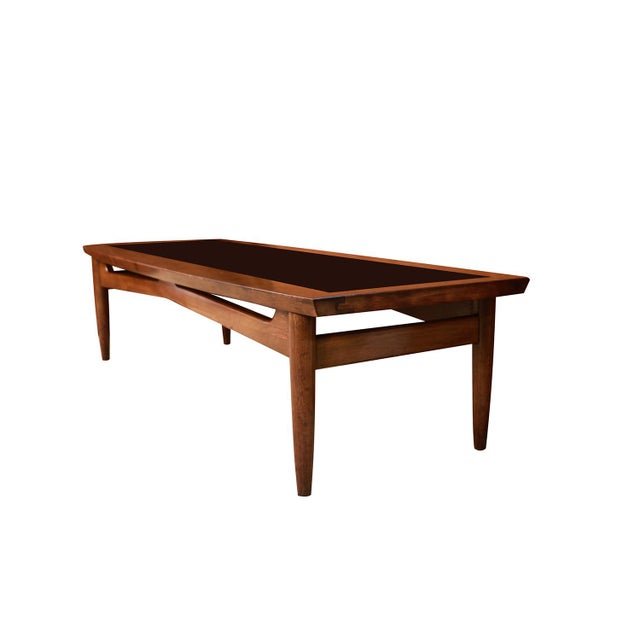 Brown Mid Century Modern Surfboard Coffee Table American of Martinsville Dania Collection Walnut Black Laminate For Sale - Image 8 of 11