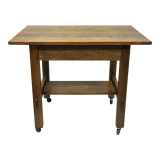 20th Century Arts and Crafts L & j.g. Stickley Mission Oak Model Work Stand Table Desk For Sale