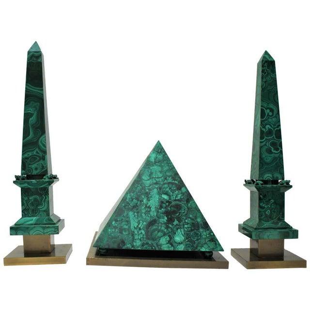 Vintage Claude De Muzac Malachite Pyramid & Obelisks - Set of 3 For Sale - Image 13 of 13