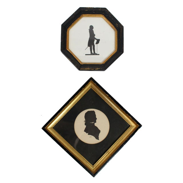 Early 20th Century Framed 18th Century Male Silhouette Pair For Sale - Image 5 of 5