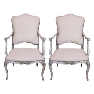 19th Century Painted Italian Armchairs - Pair For Sale