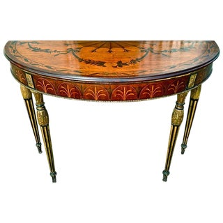 Rare and Exquisite Adam Period Satinwood and Gilt Demi-Lune Irish Console Table For Sale