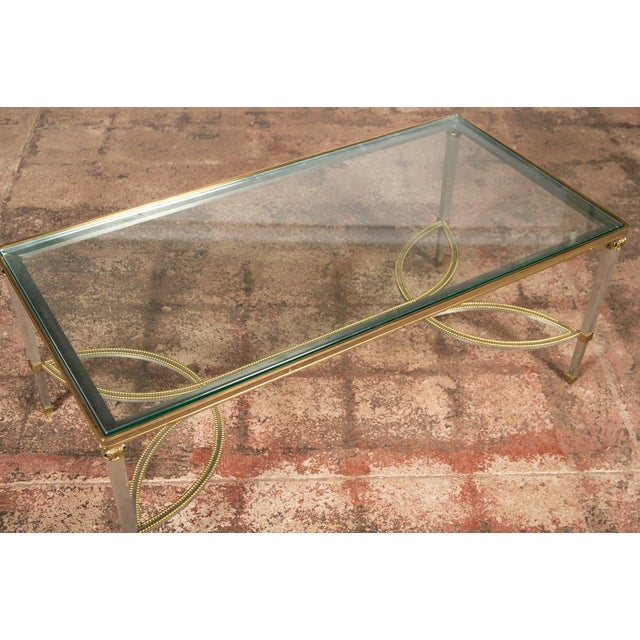 Hollywood Regency Hollywood Regency Mix Metal Bronze Coffee Table For Sale - Image 3 of 9