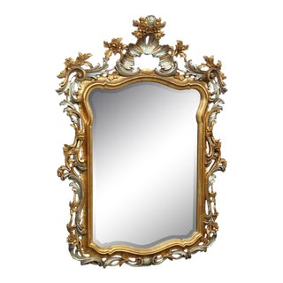 Hollywood Regency Style Distressed Painted Mirror For Sale