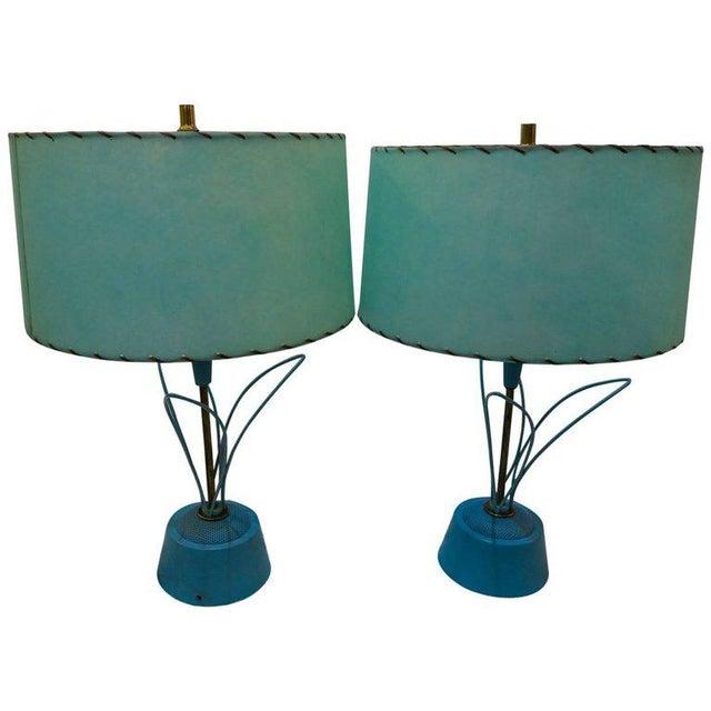 Metal Blue Atomic Metal With Original Fiberglass Shade Lamps, 1950s - A Pair For Sale - Image 7 of 7
