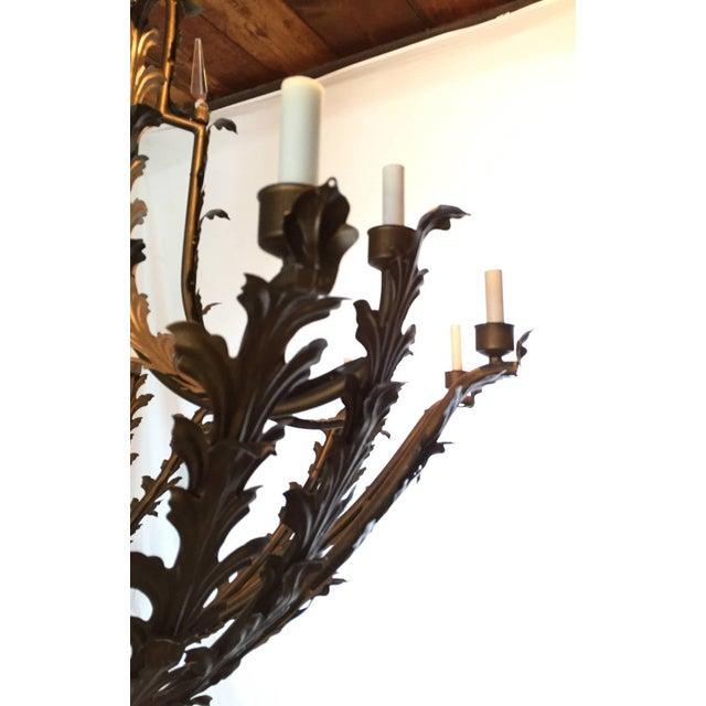 Bronzed Metal Nineteen-Light Florentine Chandelier For Sale - Image 4 of 12