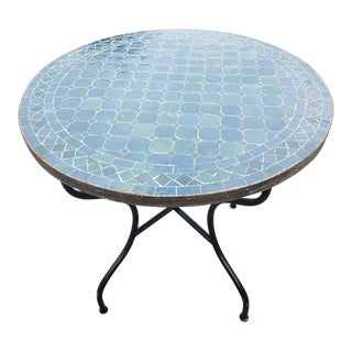 "Moroccan 32"" Blue Gray Mosaic Table For Sale"