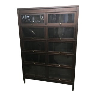 1920s Traditional Globe Wernicke 5 Stack Mahogany Double Wide Barrister Bookcase For Sale