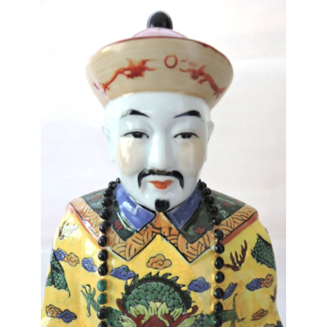 Vintage Chinese Emperor & Empress Seated Figures - Pair - Image 7 of 10