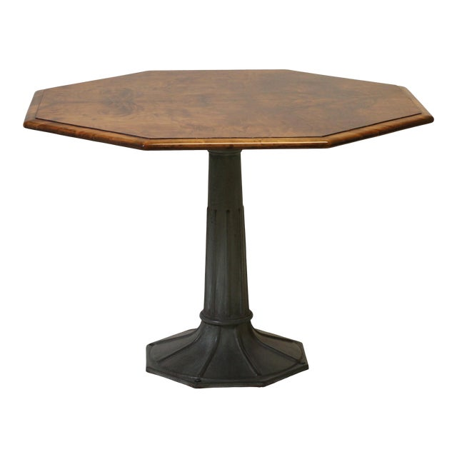 Antique Hexagonal Crotch Mahogany Table With Fluted Metal Base For Sale