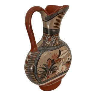 Vintage Mexican Painted Pottery Pitcher For Sale