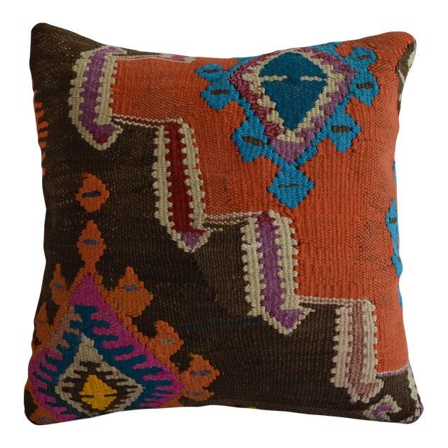 "16"" Vintage Handmade Kilim Rug Pillow Cover For Sale"