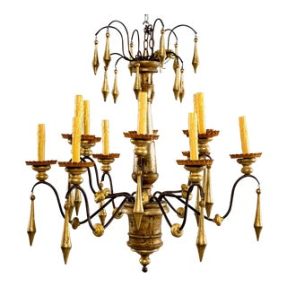 Large Italian Twelve-Light Giltwood Chandelier For Sale