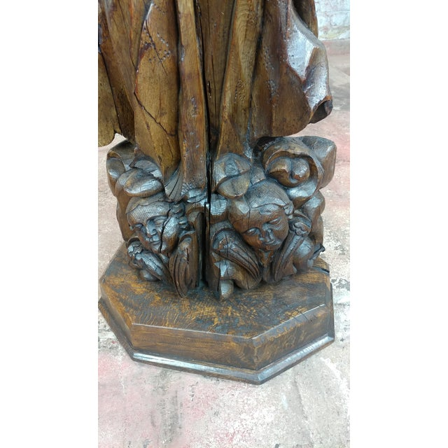 17th Century Antique French Carved Oak Santo Figure For Sale - Image 10 of 12