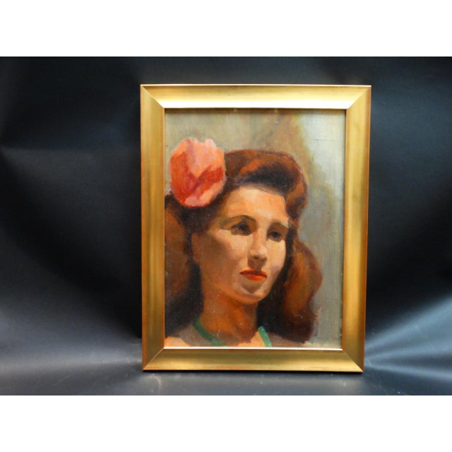 Portraiture Vintage Mid-Century Albert Londraville Woman With a Flower in Her Hair Painting For Sale - Image 3 of 8