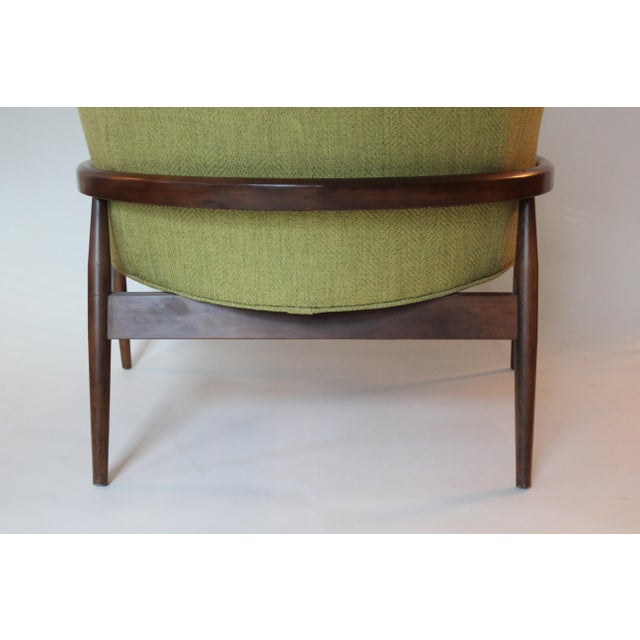 Early 21st Century Mid-Century Modern Chartreuse Upholstered Walnut Side Chair For Sale - Image 5 of 7