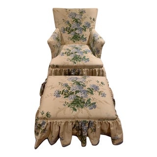 Classic Colefax and Fowler Chair and Ottoman - a Pair For Sale