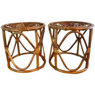 Pair of Bamboo Stools in the Manner of Franco Albini For Sale