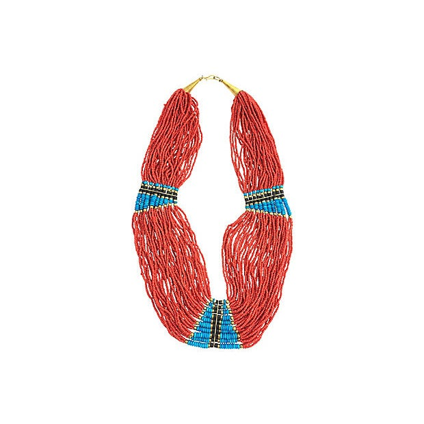 Metal Multi-Strand Costume Coral Turquoise and Wood Beaded Necklace For Sale - Image 7 of 7