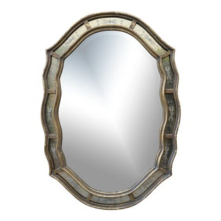 Vintage Style Oval Scalloped Edge Mirror For Sale