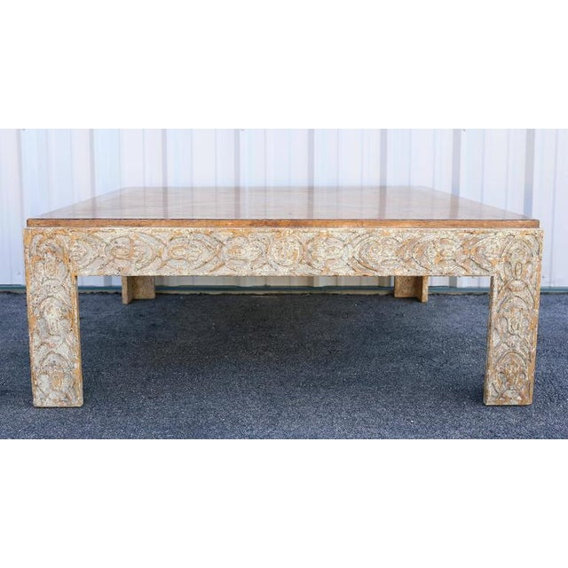 Mid-Century Modern Parquetry Top Painted Square Coffee Table For Sale - Image 3 of 9