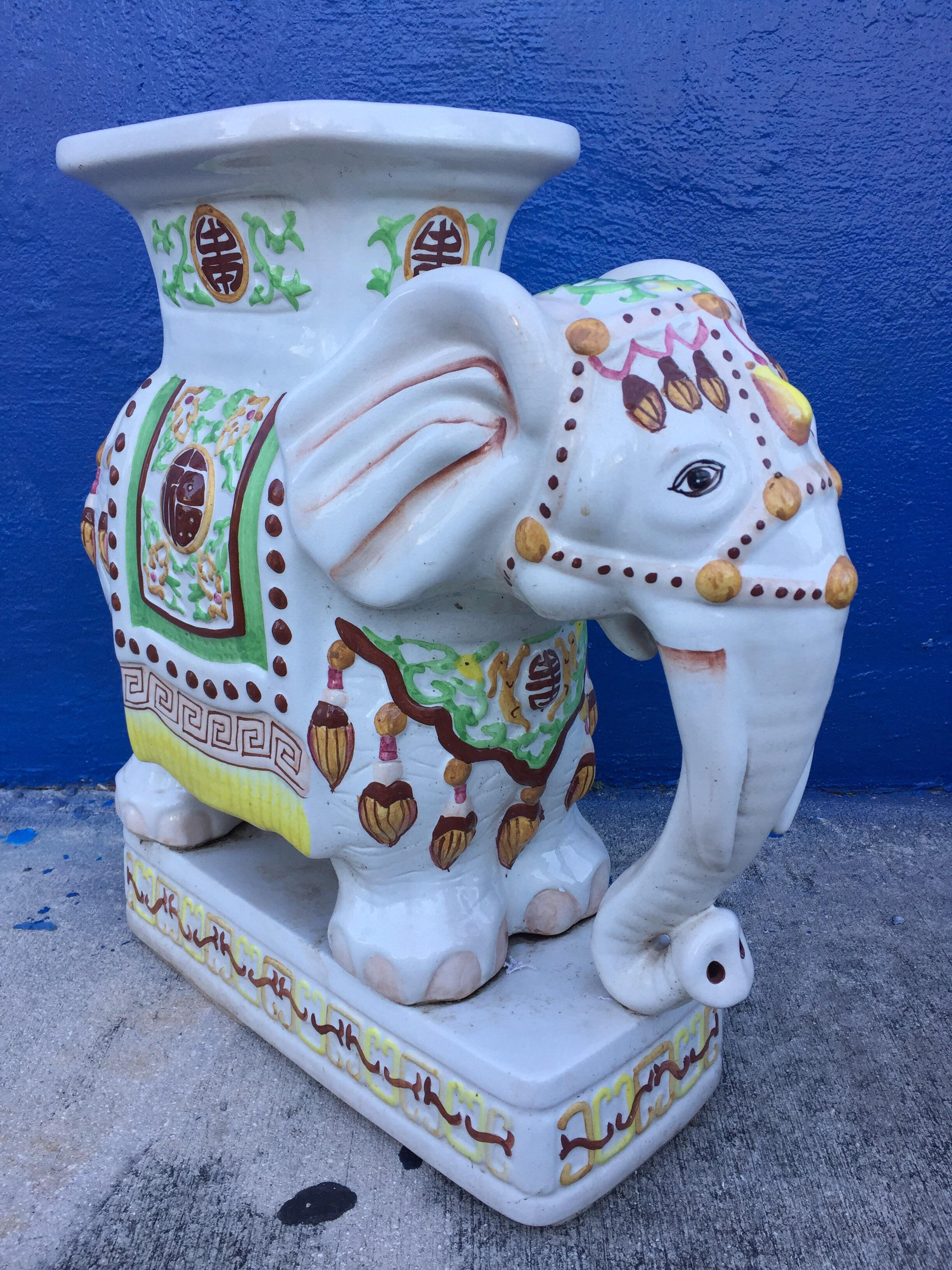 Lovely Vintage Ceramic Elephant Garden Stools #28 - Vintage Ceramic Elephant Garden Stool - Image 9 Of 11