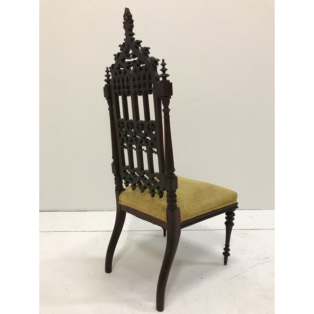 Wood 19th Century Victorian Gothic Period Petite Side Chair For Sale - Image 7 of 11