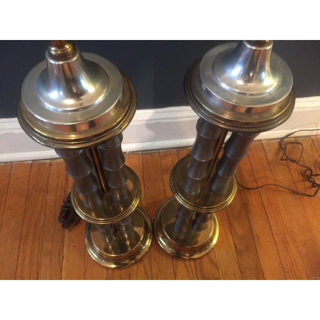 Vintage Metal & Brass Faux Bamboo Lamps - A Pair For Sale - Image 5 of 7