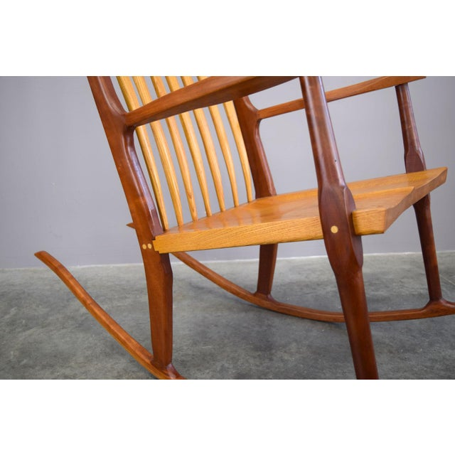 Brown Extraordinary Bench-Made Cherry Rocking Chair, Sam Maloof Style For Sale - Image 8 of 10