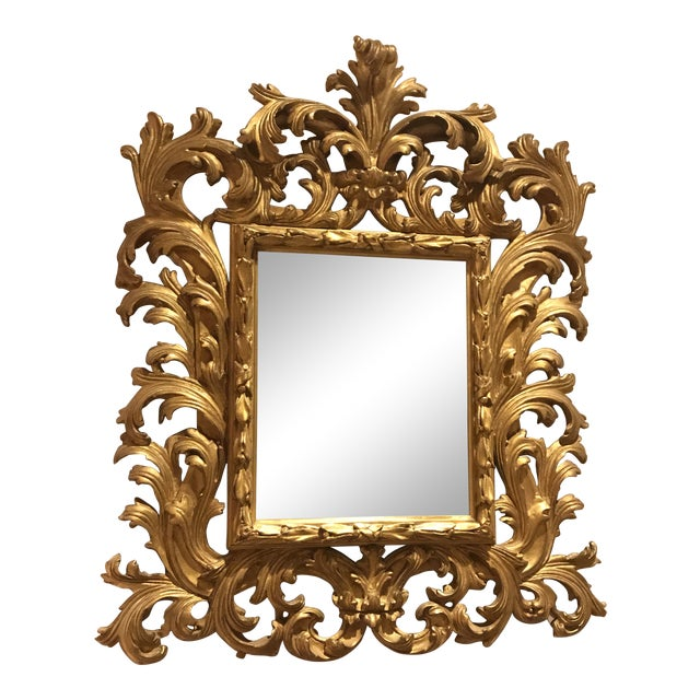 Antiqued Art Deco Gold Brocade Wall Mirror For Sale