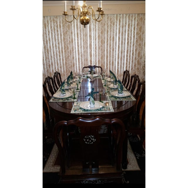Vintage Chinese Rosewood Carved Dining Set For Sale - Image 11 of 13