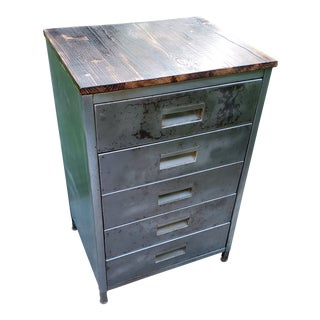 Vintage Mid-Century Metal Cabinet With 5 Drawers Refurbished For Sale
