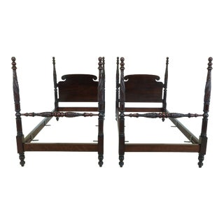 Pair Antique Early 1900s Empire Twin Beds For Sale