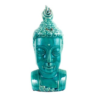 Large Buddha Bust Glaze Sculpture Turquoise Color For Sale