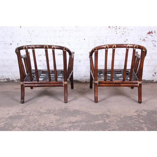 McGuire Hollywood Regency Mid-Century Modern Bent Rattan Lounge Chairs - a Pair For Sale - Image 10 of 13