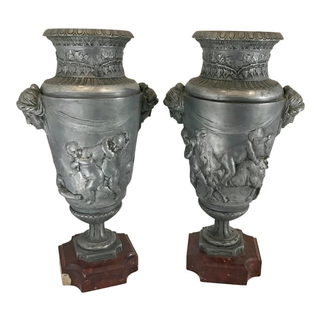 19th Century French Neoclassical Pewter on Marble Urns - a Pair For Sale