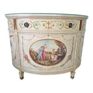 Hand-Painted Adams Style Demi Lune Commode Chest Cabinet